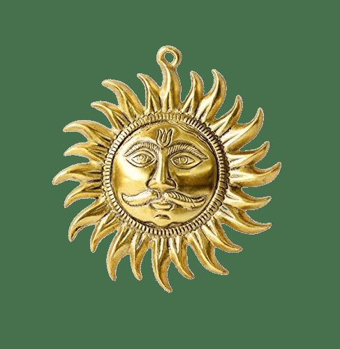 Buy Golden Metal Sun Symbol For Wall Hanging